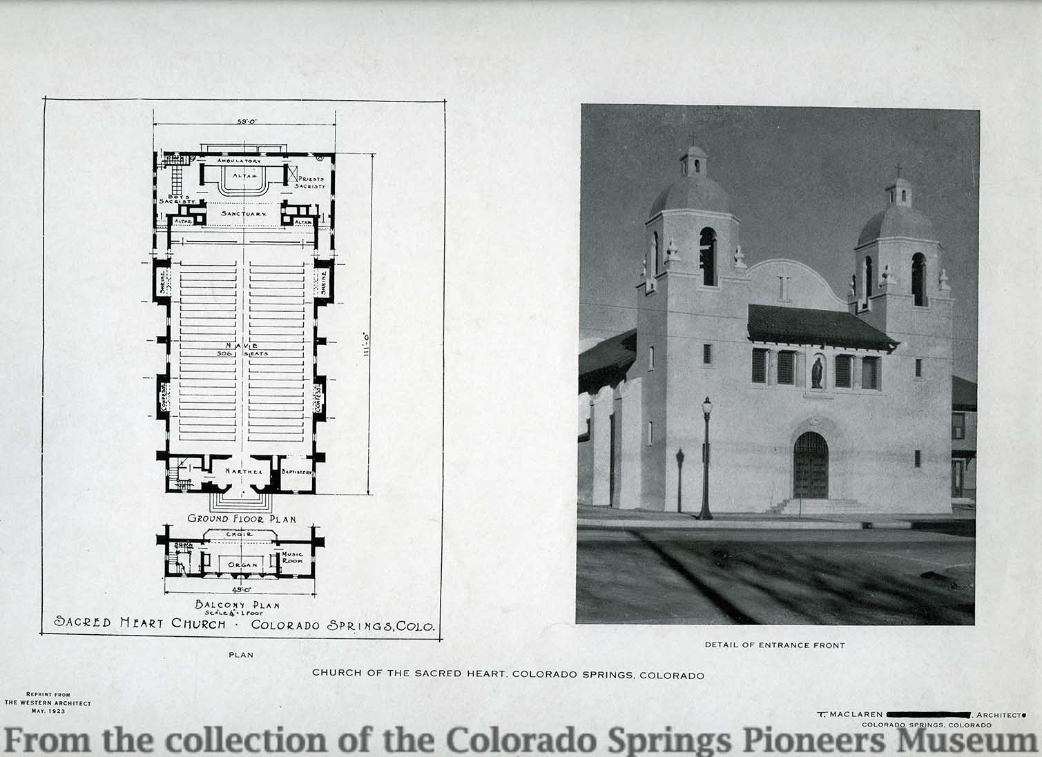 Map and blueprint collections colorado springs pioneers museum sacred heart church colorado springs colorado designed by thomas maclaren malvernweather Choice Image