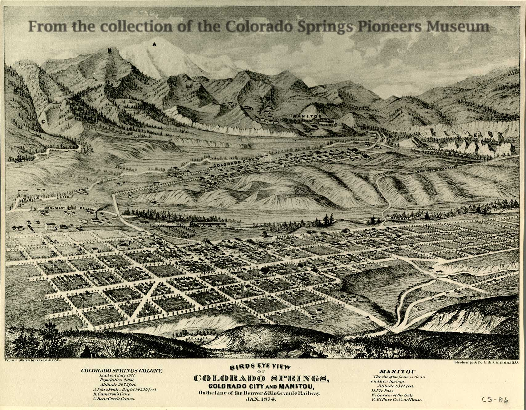 Map and blueprint collections colorado springs pioneers museum birdseye view of colorado springs 1874 by es glover malvernweather Image collections