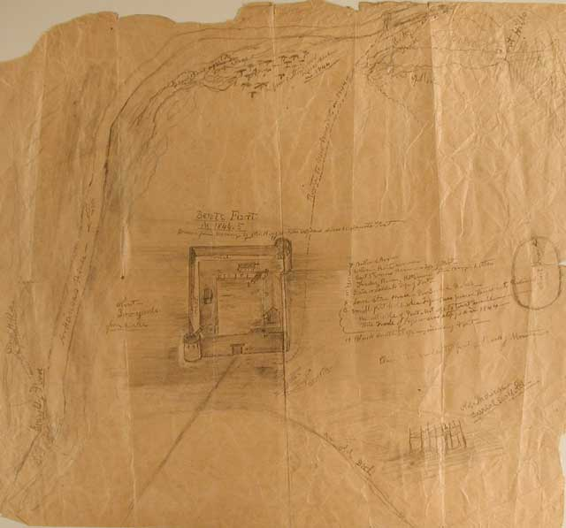 This Old Bent's Fort Map drawn around 1850 by Will Boggs, an associate of Kit Carson, gives a sense of the design and surroundings of Bent's Old Fort  Most of the Boggs' detail focuses on the structure itself and the illustration suggests the fort was built to be largely self-sufficient.