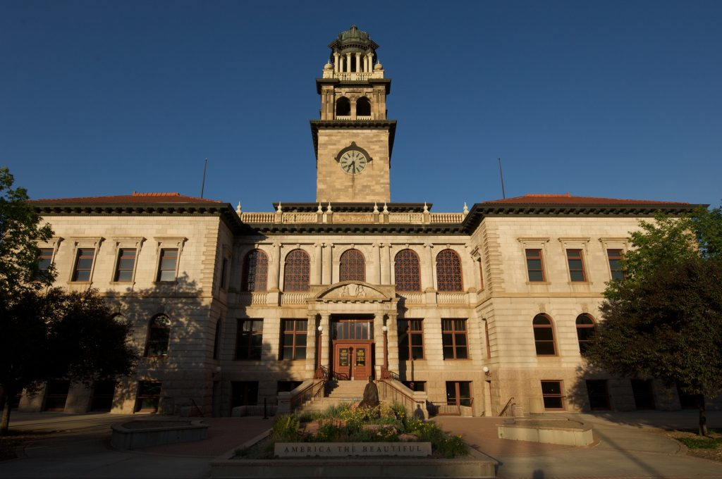 View of the Exterior of 1903 El Paso County Courthouse which houses the Colorado Springs Pioneers Museum.