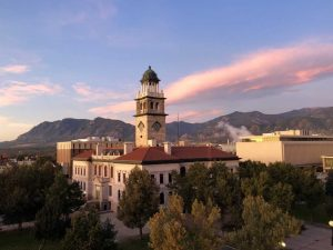 Photo of the 1903 El Paso County Courthouse, which houses the CSPM. Thie direction is looking on the south side of the building from a higher elevation during a sunrise.