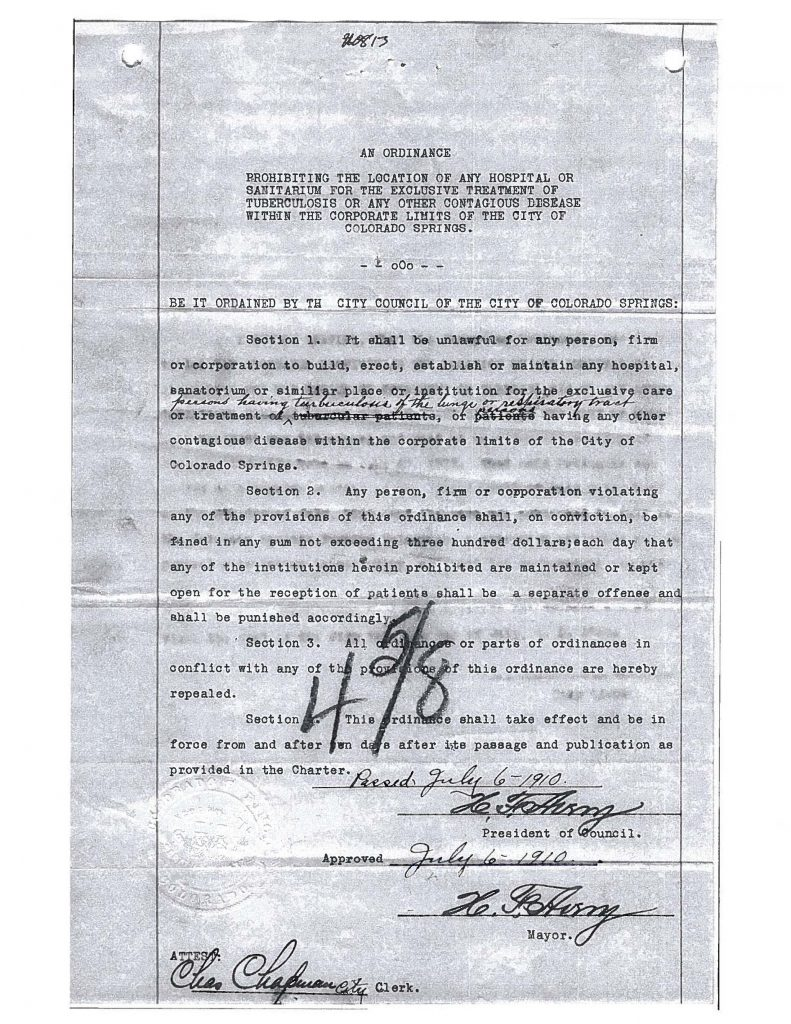1910 ordinance prohibiting tuberculosis hospitals or sanitariums within the business district of Colorado Springs.