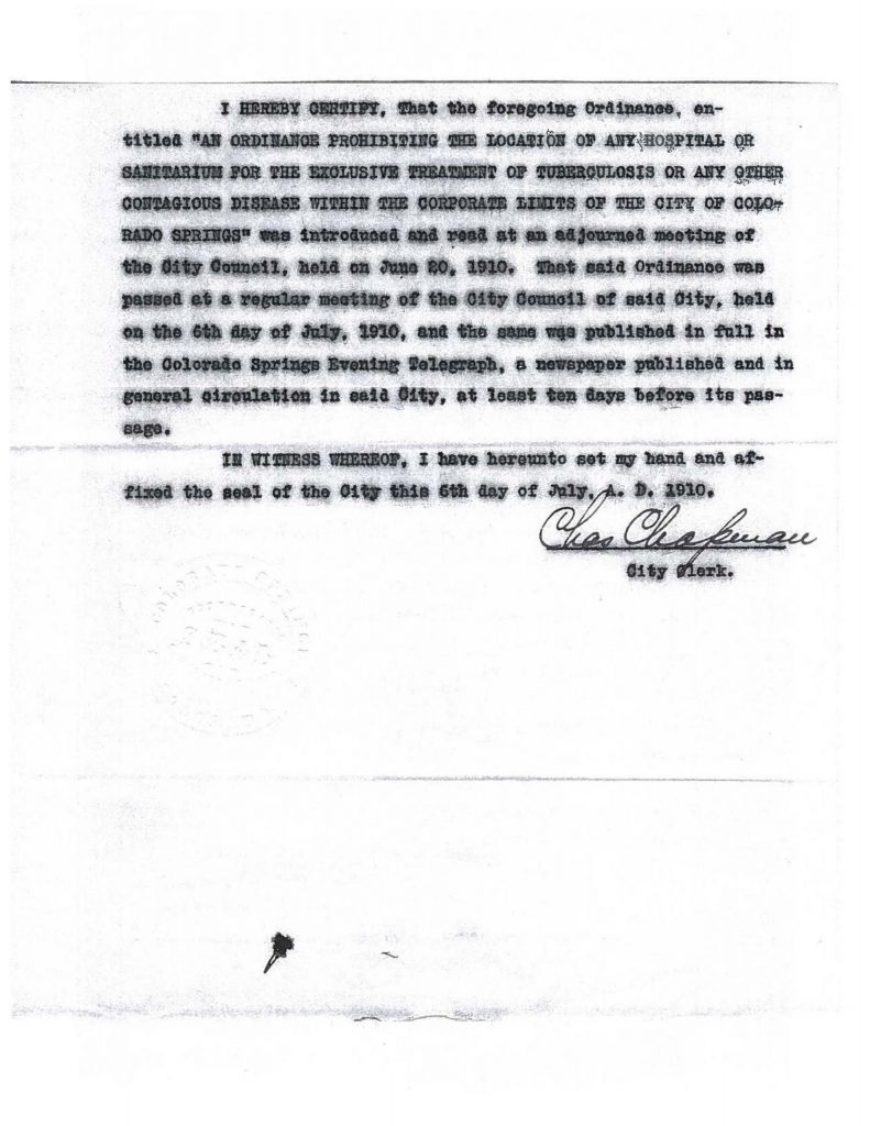 Page 2 of the 1910 ordinance prohibiting tuberculosis hospitals or sanitariums within the business district of Colorado Springs.