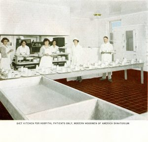 Kitchen at the Modern Woodmen Sanitorium, Colorado Springs, with white tiled and enameled surfaces to meet new hygiene and sanitation standards, ca. 1920