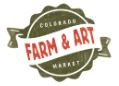 Olive green pop bottle cap with white ribbon running over the top of the cap with the words Colorado Farm & Art Market