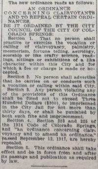 Cut-out section of the Gazette newspaper describing the Clairvoyant Ordinance on September 12, 1917.20