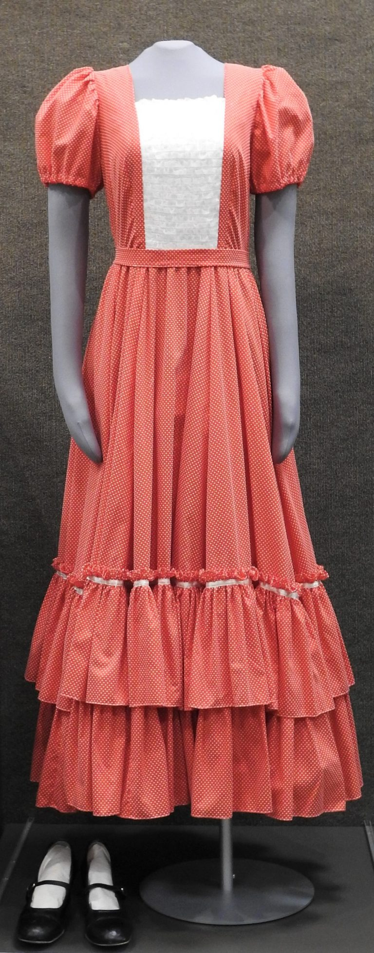 """""""Fun Finders"""" Square Dancing Dress & Shoes, 1975-1992. Generously donated by Dean and Peg Edwards, 2000.93.1,2."""