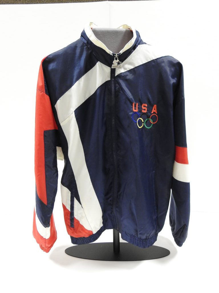 Official USA Olympic Team Windbreaker, 1996. Generously Donated by Peggy Cassel-Covey, 2003.105.33
