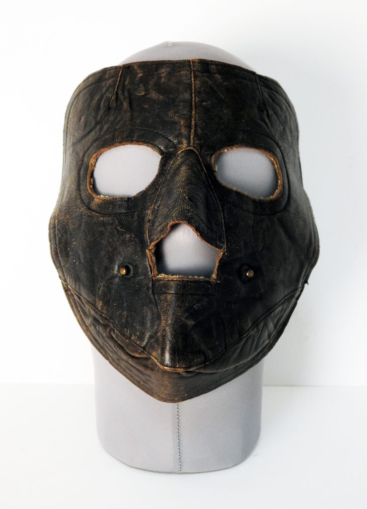 Leather Face Mask, 1922. Generously donated by Cliff Donnelly, 2006.160.1.
