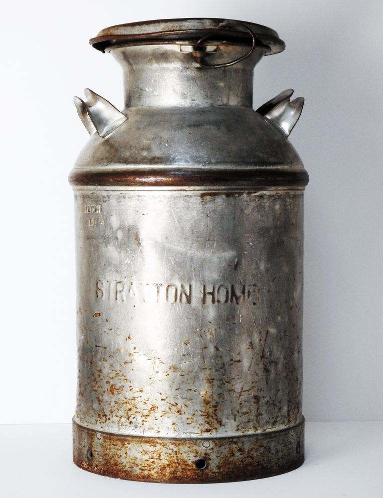 Myron Stratton Home Dairy Milk Cannister, ca. 1930. Generously Donated by the Western Museum of Mining and Industry 2013.31.1