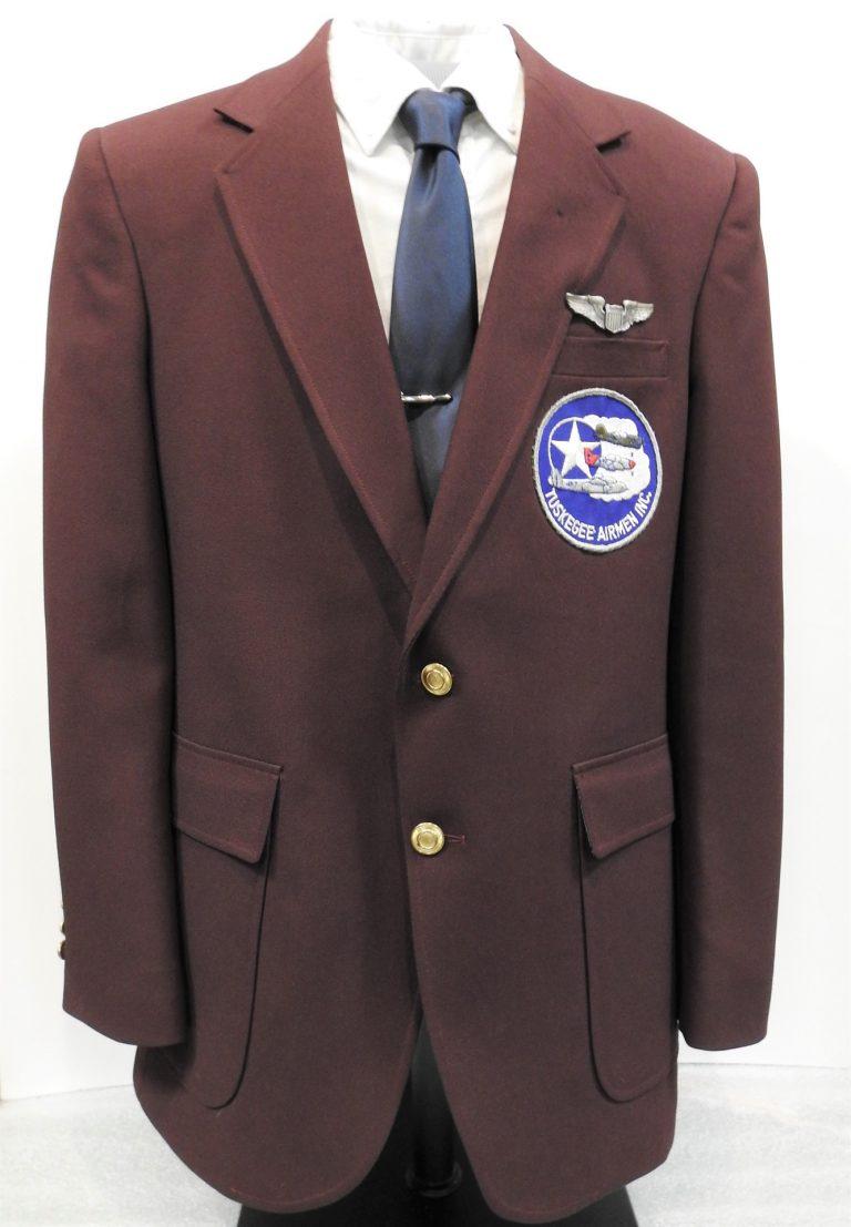 Franklin Macon's Tuskegee Airmen Jacket, 1970, Franklin Macon's Tuskegee Airmen Pin, ca. 1944. Generously Donated by Franklin Macon, 2019.93.1,.2.