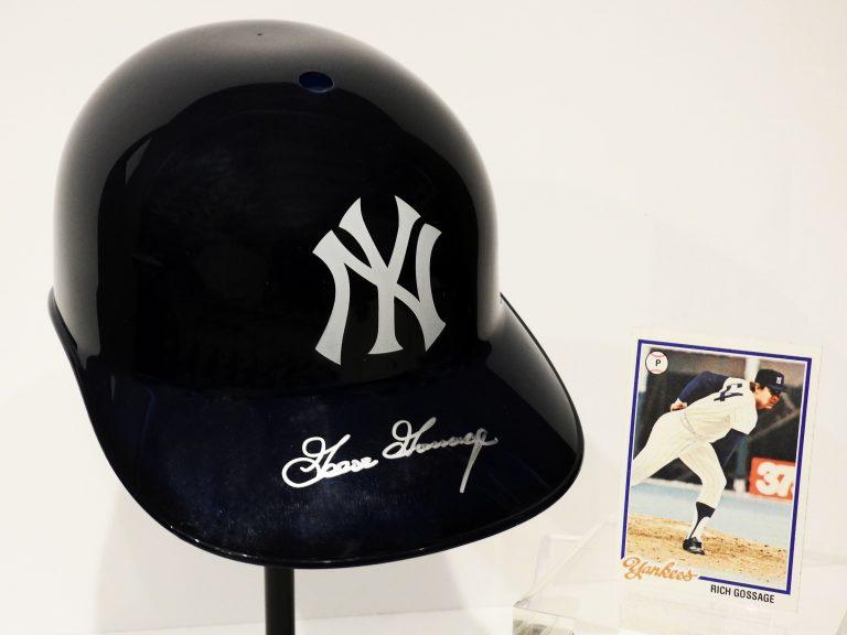 "New York Yankees Baseball Helmet, and Rick ""Goose"" Gossage Baseball Card, 1978. CSPM Collection, 2020.30.0,.1."