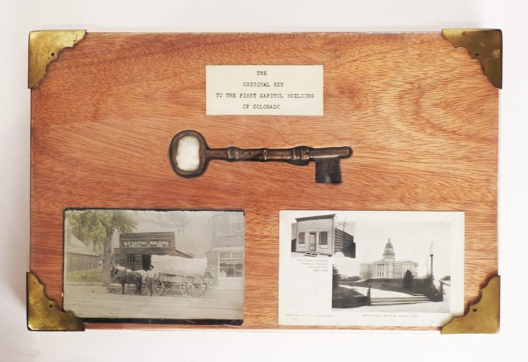 """Key to """"First State Capitol Building,"""" Log Cabin in Old Colorado City, 1861-1862. Presented by Mayor T. Eugene McCleary on behalf of Ida W. Schranz. 67-100."""