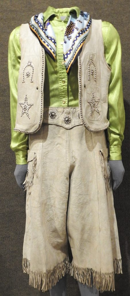 Buckskin Suit Worn by Rodeo Queen Dawn Norris, 1922. Generously Donated by the Family of Dawn Norris, 70-139.