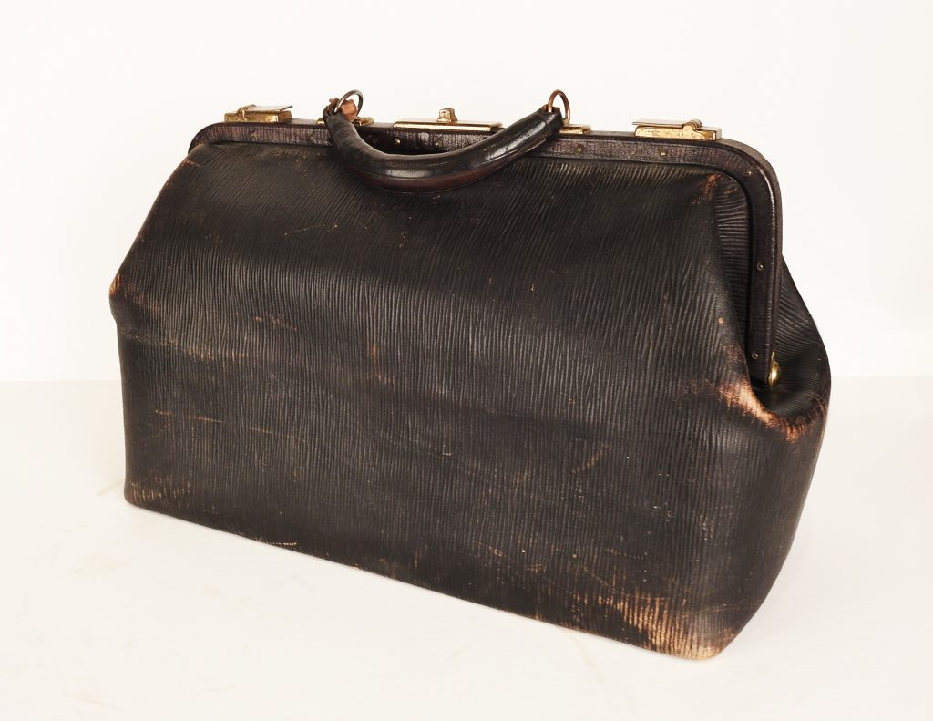 Leather Doctor's Bag used by Dr. Alexis Forster, ca. 1925. Gift of the Estate of Liana Forster.