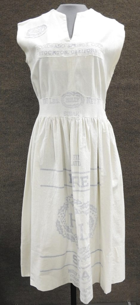 Dress Made from Holly Sugar Sacks, ca. 1945. Generously donated by Dr. Patrick M. Casey, 78-112-3.