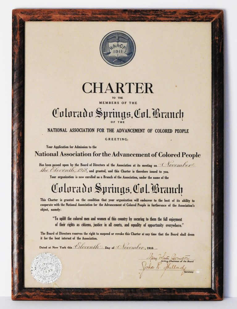 Charter for the Colorado Springs Branch of the National Association for the Advancement of Colored People (NAACP), November 11, 1918. Generously Donated by Mrs. Alice Morgan. 78-20.
