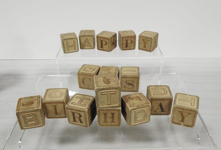 Set of Wood Alphabet Blocks, 1922. Generously donated by Merle J. Larson, 81-11.