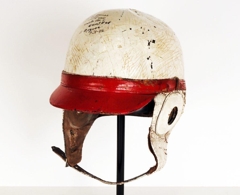 Al Rogers' Pikes Peak Hill Climb Helmet, 1936-1941. Generously donated by Mr. J.C. Rogers. 85-95-1.