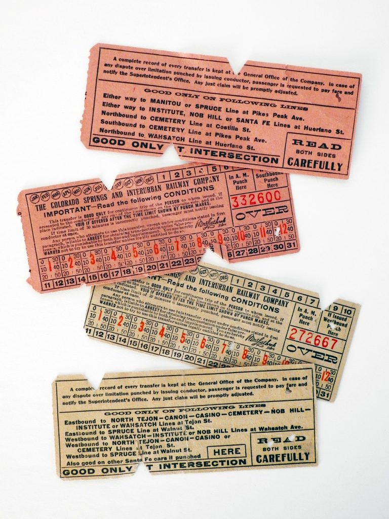 Tickets for the Colorado Springs Interurban Railway, ca. 1920. Generously Donated by Kenneth L. Gaunt.