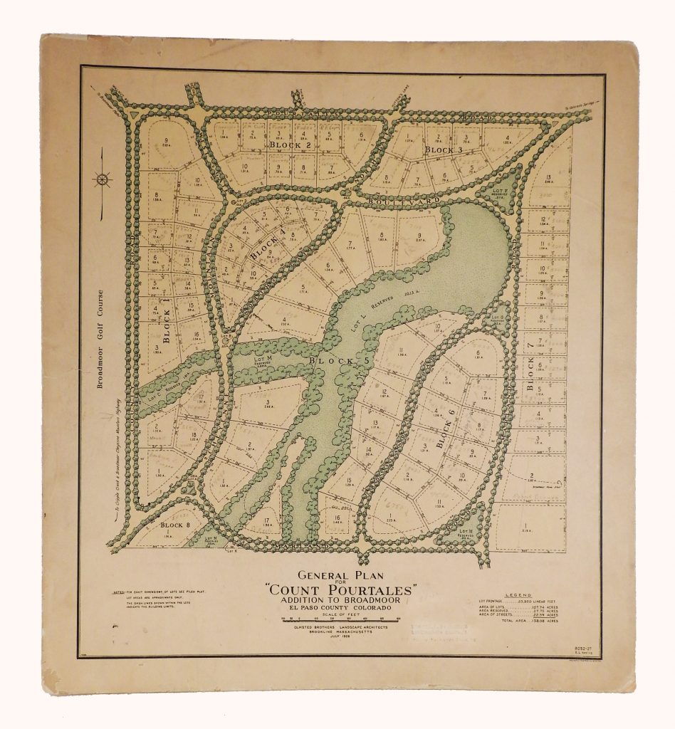 """General Plan for the """"Count Pourtales Addition"""" to Broadmoor, 1926. Generously Donated by Dr. Beryl T. Ritchey, A87-17-9."""
