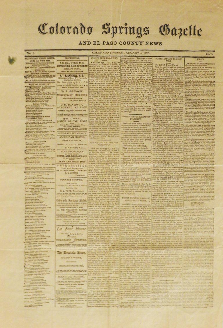 Colorado Springs Weekly Gazette, January 4, 1873. CSPM Collection