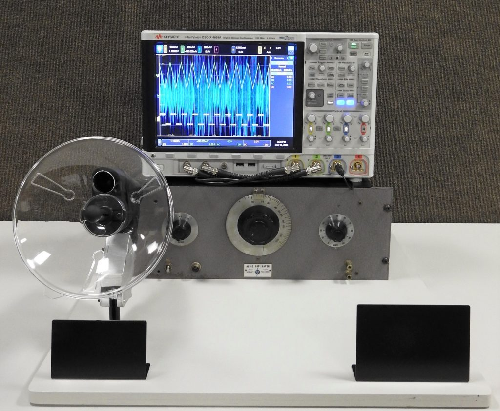 Audio Oscillator and Oscilloscope, 1940 and 2020. Generously Loaned by Keysight Technologies.