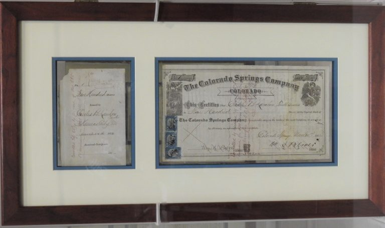 Stock Certificate, March 14, 1872. Generously Loaned by Judge David Prince.