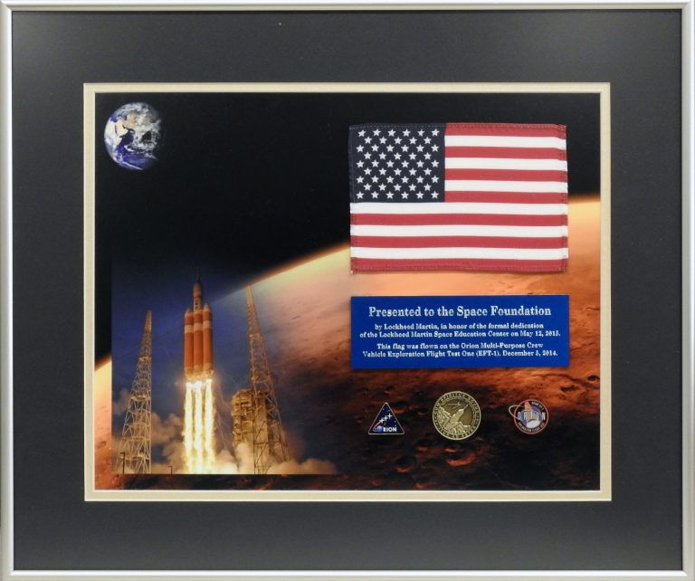 Flag Flown During the First Manned Test Flight of Orion Capsule, 2014-2015. Generously Loaned by the Space Foundation Discovery Center.