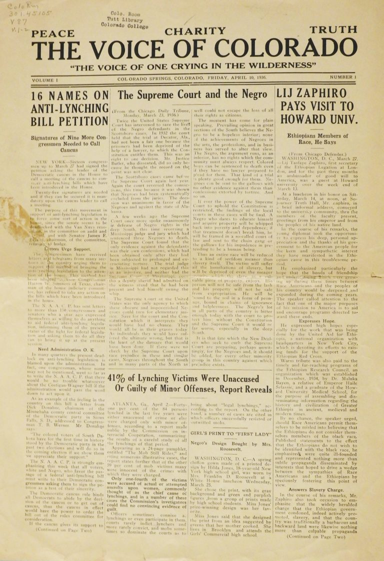 The Voice of Colorado, April 10, 1936. Generously Loaned by Colorado College, Tutt Library, Special Collections.