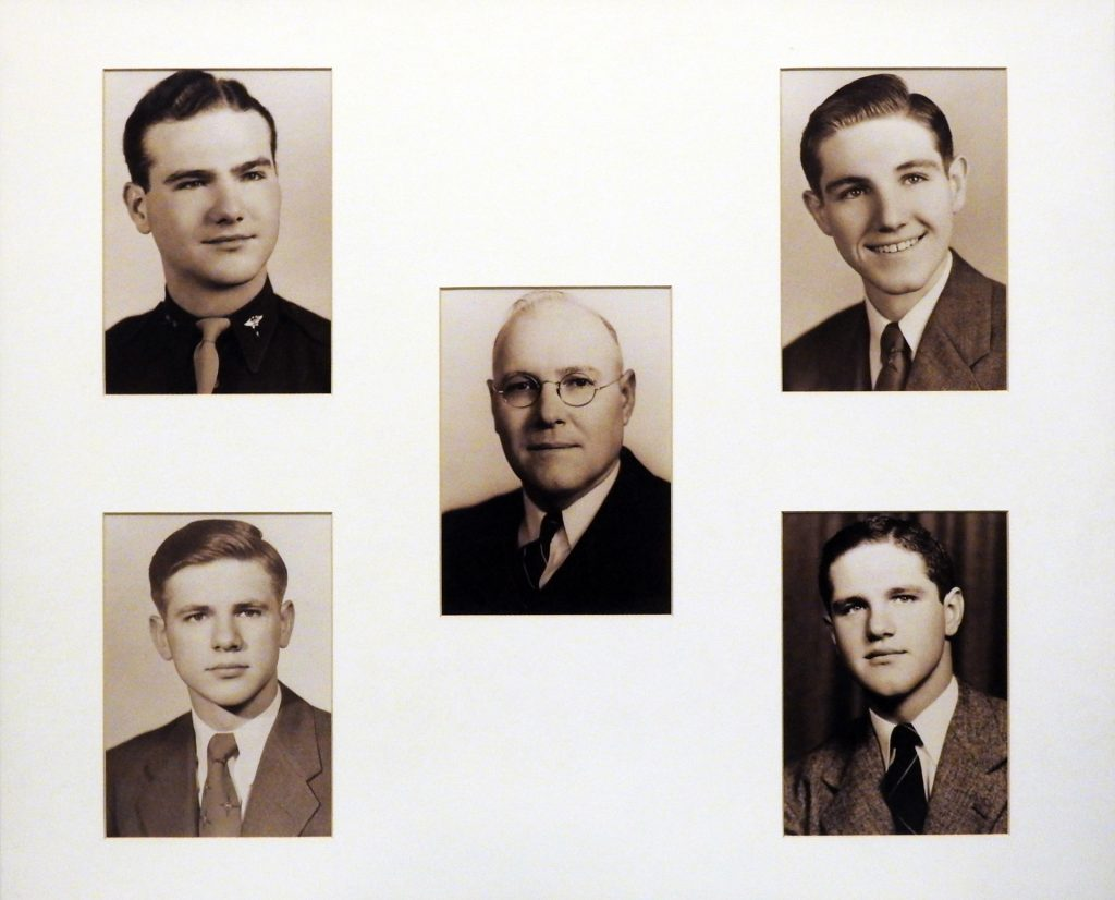 Photograph of the Ochs Family, ca. 1950. Generously Loaned by Harlan D. and Alice Ann Ochs. From left to right: Larry, father David (center), Harlan, bottom left to right: Ken and Don.