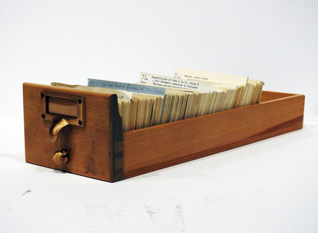 Card Catalog, ca. 1920. Generously Loaned by the Pikes Peak Library District.