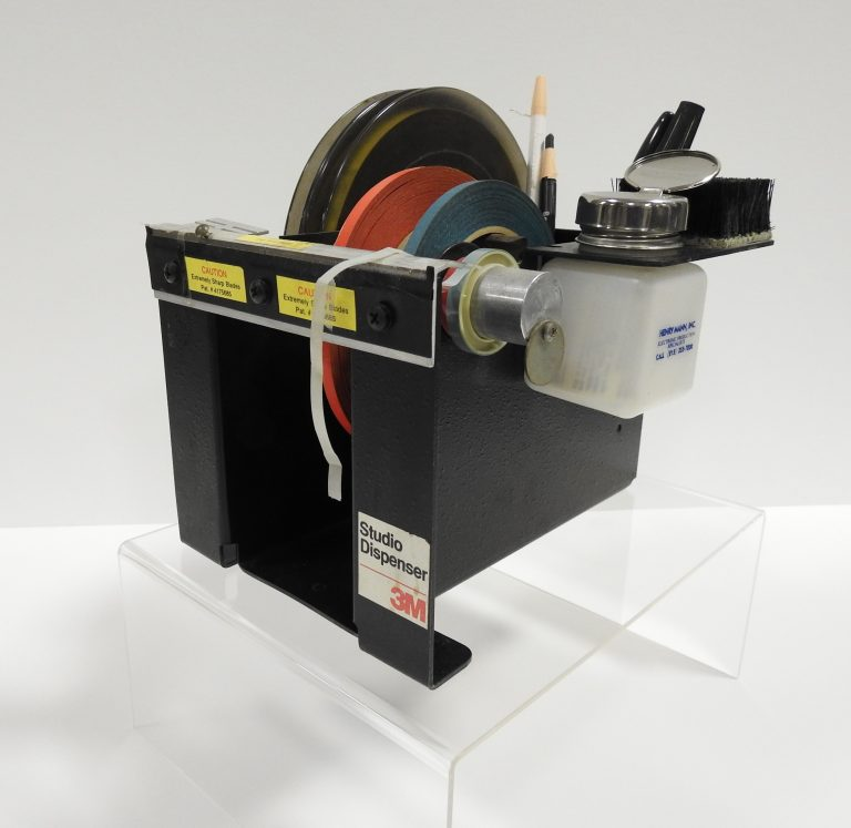 3M Studio Dispenser Tape Editing Kit with Head Demagnetizer ca. 1978. On Loan from KRCC Radio.