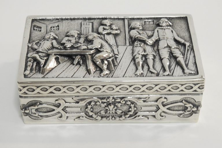 Ornate Silver Box Belonging to the Hayes Davis Family, 1909. Generously Loaned by the Bertram Davis Family.