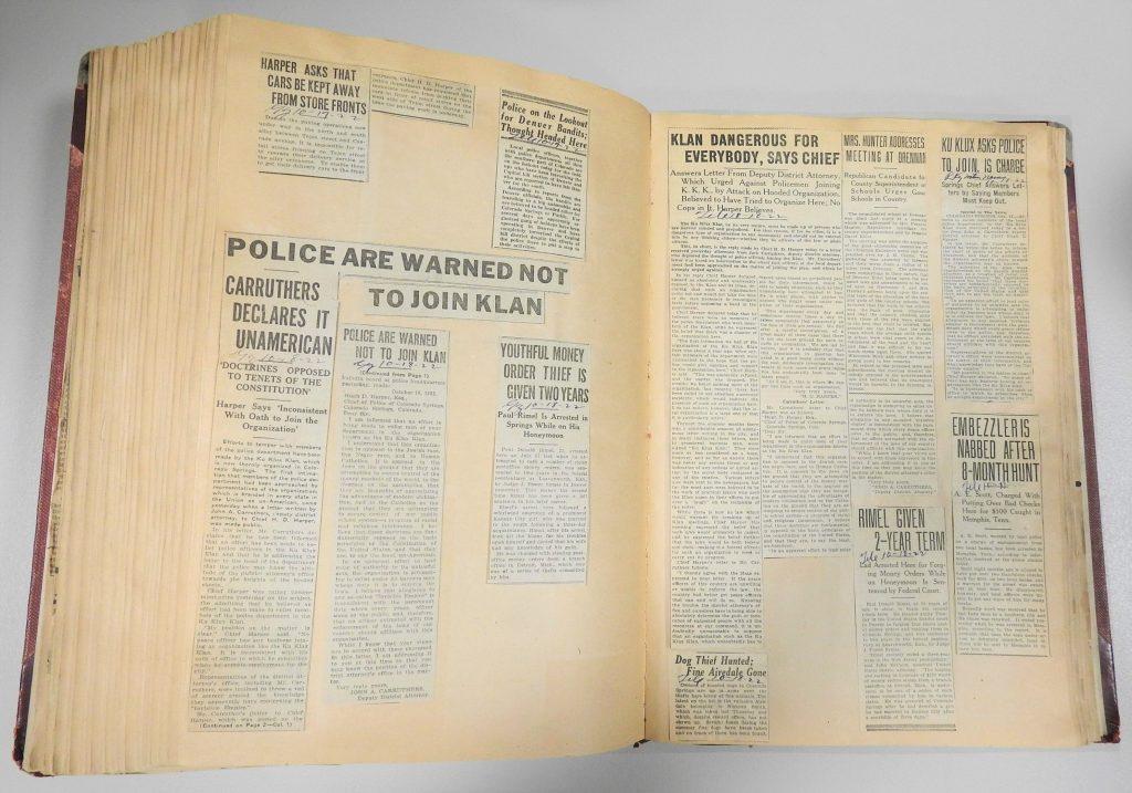 Colorado Springs Police Department Scrapbook, 1922. Generously Donated by the Colorado Springs Police Department, S2008.89.4.