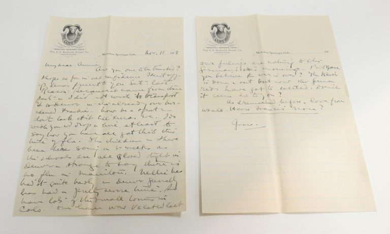 Letter from Grace Coolidge During the 1918 Flu Pandemic, November 11, 1918. Generously donated by Philip Heinicke. S2009.24.