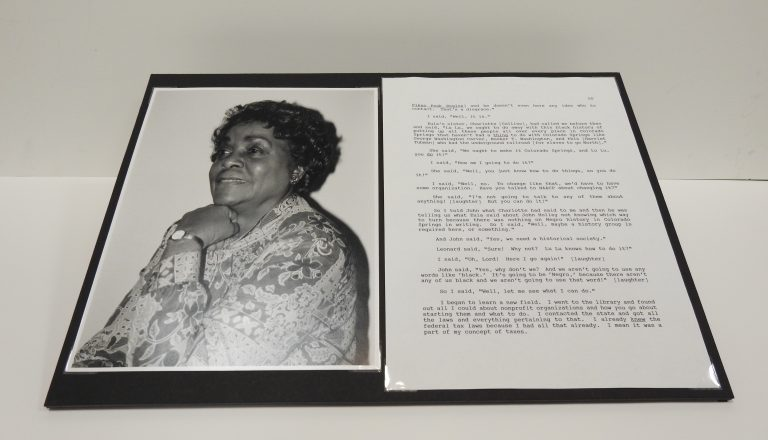 LuLu Stroud Pollard Oral History Recording, Page of Transcript, and Photograph, 1995, From the Voices and Visions Oral History Project, Generously Donated by LuLu Stroud Pollard, S995.81.