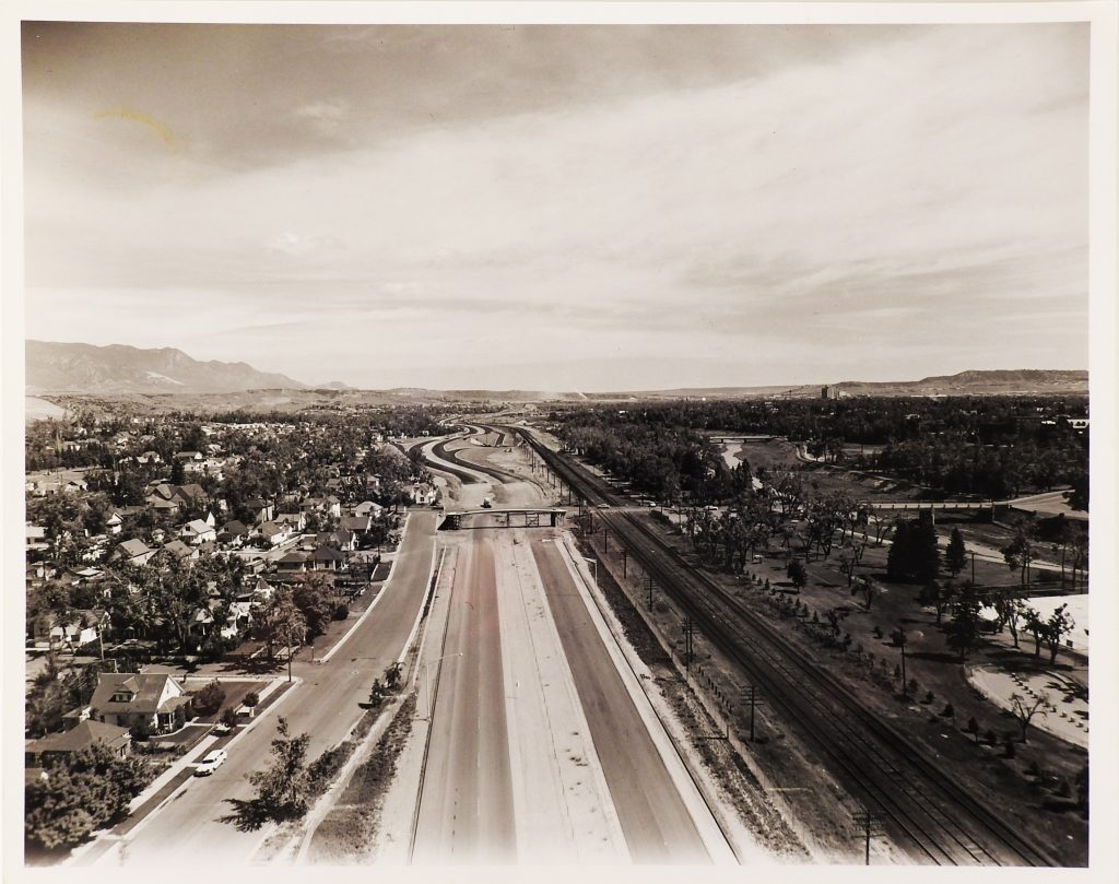 Photograph of Interstate 25 Construction Through Colorado Springs Ca. 1960, Generously Donated by the Colorado Springs Gazette, S997.251.124