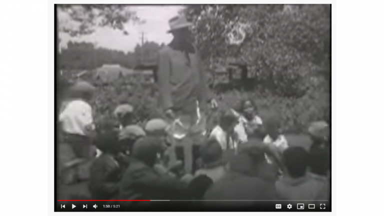 Screenshot of the Pike Peak Library District YouTube Video of the 1928 film of an African American picnic sponsored by Henry Sachs of Colorado Springs, Colorado.