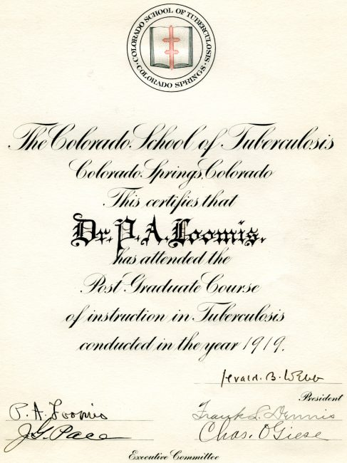 Training Certificate issued by the Colorado School of Tuberculosis, featuring the Cross of Lorraine, the symbol used by the National Tuberculosis Association in the Campaign Against Tuberculosis, 1919.